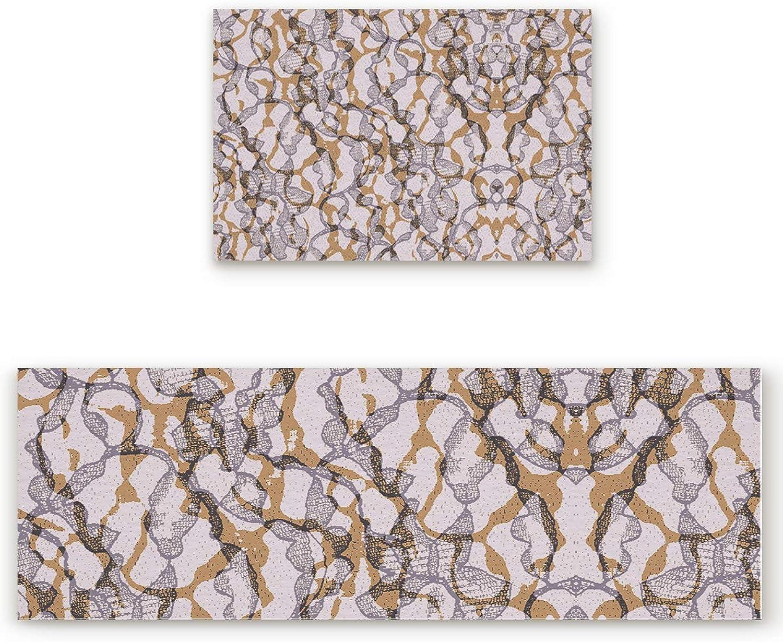 Abstract Pattern Door mat 2 Piece Set, Vintage Texture Design Doormat Rug,Decorative Felt Floor Mat with Non-Skid Backing,Fit for Indoor,Kitchen,Bedroom (23.6x35.4in+23.6x70.9in)