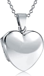 Plain Simple Engravable Heart Locket Pendant Necklace For Women For Mother 925 Sterling Silver