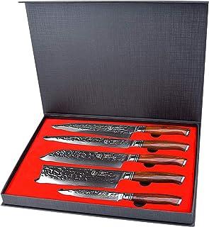 YARENH 5 Pièces Set Couteaux Cuisine Professionnel,Couteaux en Acier Japonais Damas Acier,Set Couteau Damas Japonais Conti...