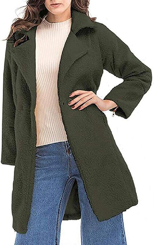Women Jacket Coats Faux Fur Lapel Fluffy Mid Length Trenchcoat Jacket Overcoat