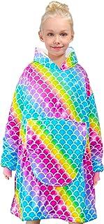 Nidoul Oversized Blanket Sweatshirt, Wearable Fleece & Sherpa Hoodie for Kid Teen Girls, Unicorn Rainbow Fleece Pullover H...
