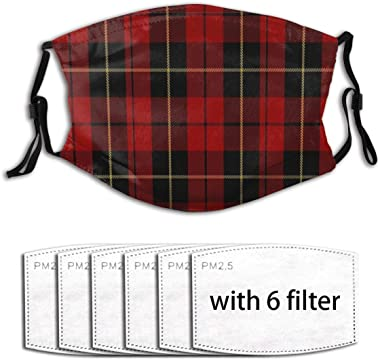 Promini Beautiful& Wallace Clan Red Tartan Dust Face Cover Mask Washable Mouth Guard with Replaceable Filter Activated Carbon