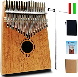 $23 » MOTYYA Kalimba 17 Key Thumb piano, Mbira 17 Tone Finger Piano Portable Musical instrument Toys Solid Sapele Body with Tune Hammer/Bag Musical Gifts (Mahogany Butterfly Wood Color)