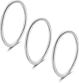 SILBERTALE 1.2mm Thin 925 Sterling Silver Stackable Ring Midi Knuckle Stacking Rings Set Size Choose 2.5-8.5