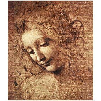 LegendArte Leonardo da Vinci La Scapigliata Stampa su Tela, cm. 80x100 - Quadro su Tela, Decorazione Parete
