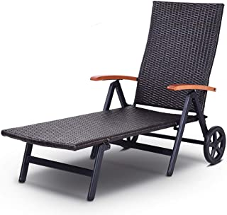 Cypress Shop Foldable Lounge Recliner Chair Rattan Chaise Single Portable Adjustable Angle 6 Levels Mobile Convertible Sleeper Leisure Reclining Sleeping Sleeper Breathable Home Furniture with Wheels