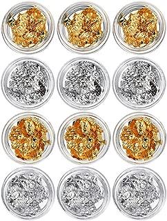 1 BOX 12 gold silver foil paillette nail art DIY Ongles