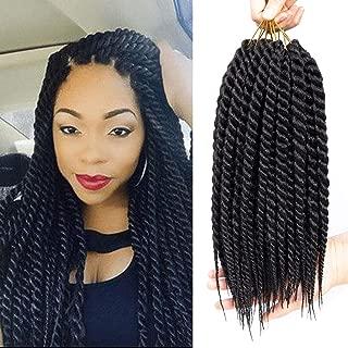 Ago 6 Packs 12 inch Havana Mambo Twist Crochet Hair Senegalese Crochet Braiding Hair Extension (12inch, 1B)