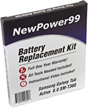 NewPower99 Battery Replacement Kit Samsung Galaxy Tab Active 8.0 SM-T360 Video Installation DVD, Installation Tools Extended Life Battery