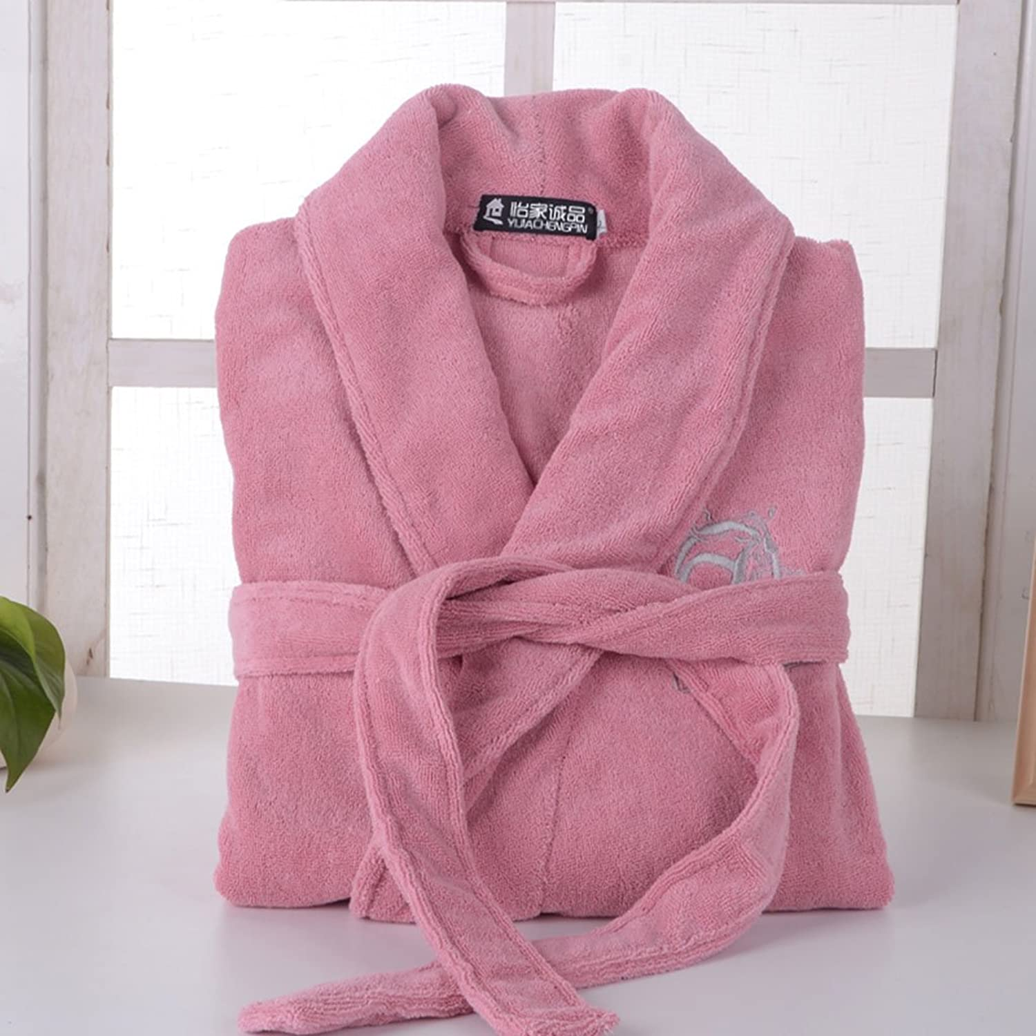 GJM Shop 100% Cotton Bathrobe Thicker Cotton Male and Female Adults Autumn and Winter Nightgown (color   1, Size   M)