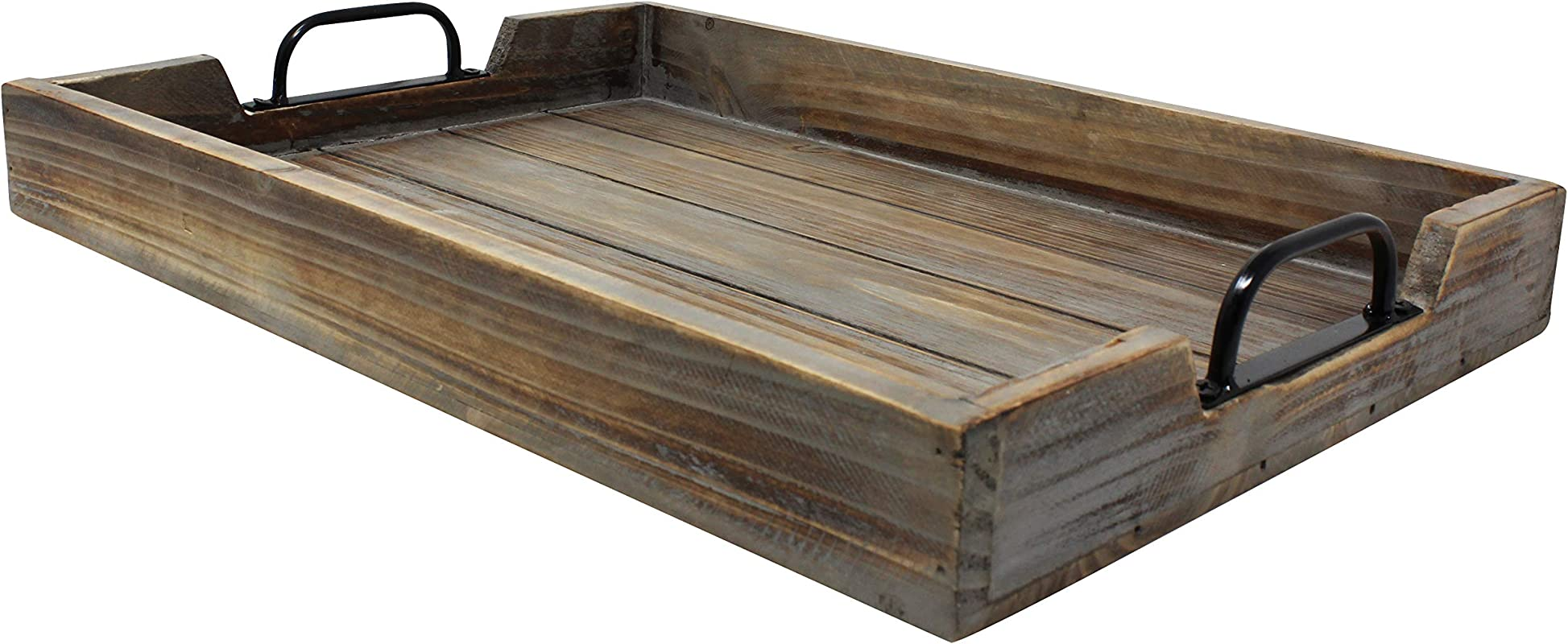 Large 14x20 Decorative Vintage Wood Serving Tray For Coffee Table Or Ottoman Rustic Wooden Breakfast Trays For Kitchen Dining Room Or Living Room Farmhouse Platter W Handles Barnwood