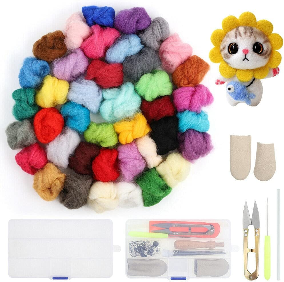 Ranking TOP14 DXXWANG Needle Felting Starter Kit 40 Wool Roving Colors Y Fibre Super popular specialty store