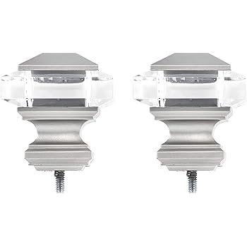 AmazonBasics Squire Acrylic Square Finials - Set of Two, Nickel