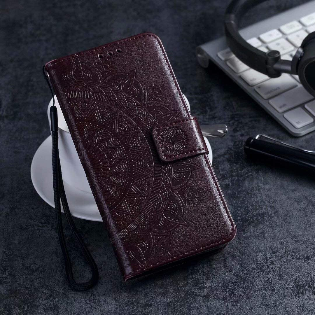 Compatible for Nokia 2.4 Case Nokia 2.4 Phone Case Totem Pattern Shockproof PU Leather Wallet Protective Cover with Card Slots Magnetic Closure Folio Stand TPU Bumper Nokia 2.4 Flip Case Rose Gold