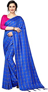 Shreeji Designer Women's Soft Cotton Silk Fabric Chex Zari Design Saree with Blouse Piece SD-2237 Royal Blue
