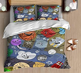 DGAIER Retro Pattern Duvet Cover Set - Battle for BFDI - Bedding Set with Pillowcase Gift for Kids Girls Duvet Cover Twin/XL Size