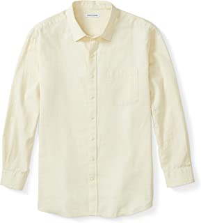 Amazon Essentials Men's Big & Tall Long-Sleeve Linen Cotton Shirt fit by DXL