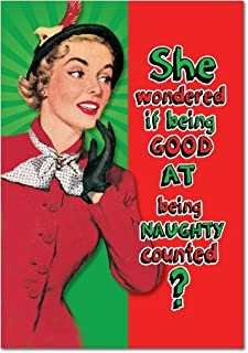 12 'Being Good Counts' Boxed Christmas Cards with Envelopes 4.63 x 6.75 inch, Hilarious Naughty Nice List Holiday Notes, Old Fashioned Artwork of Classy Woman Christmas Cards B5925