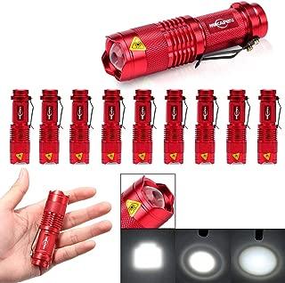 10 Pack Mini Flashlights LED Flashlight 300lm Adjustable Focus Zoomable Light (Rer)