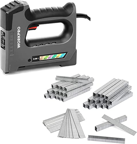 2021 WORKPRO 6 in 1 Staple Gun, outlet sale Electric Stapler Tacker, 110V Corded wholesale Brad Nailer & Heavy Duty T50 Staples and Brad Nails Combo Kit, 7500-Count, for DIY Project of Woodworking online sale