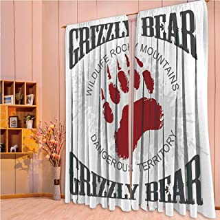 ZHICASSIESOPHIER Bedroom/Living Room/Kids/Youth Room Curtain Panels, 2 Panel,Footprint Emblem Dangerous Wildlife Rocky Mountains 108Wx73L Inch