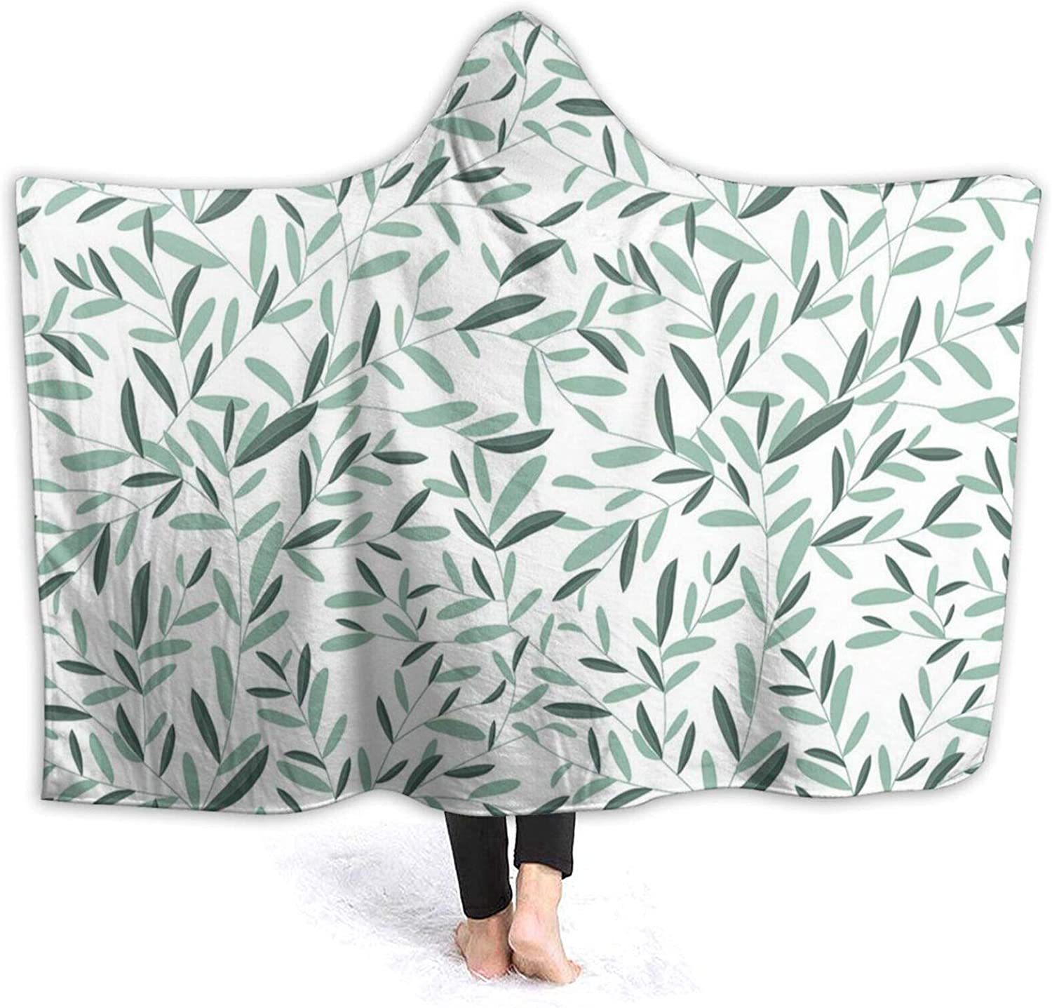 Hooded Blanket Anti-Pilling Flannel Pattern with Leaves Environm Bombing new work free