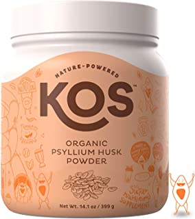 KOS Organic Psyllium Husk Powder - Everyday Fiber Support Psyllium Husk Powder - Finely Ground for Easy Mixing & Baking (Keto Bread) USDA Organic Plant Based Ingredient, 399g, 105 Servings