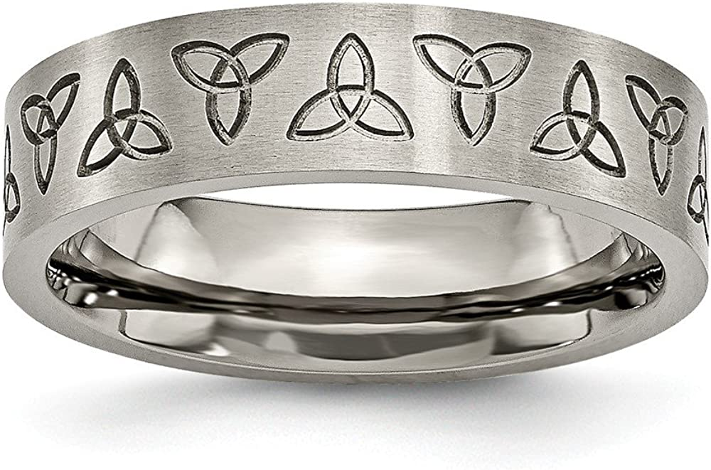 ICE CARATS Titanium Brushed 6mm Trinity Symbol Flat Wedding Ring Band Designed Religious Celtic Fashion Jewelry for Women Gifts for Her