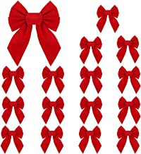 RUBFAC Red Velvet Christmas Bows 5 X 7 Inches 16 Pack for Christmas Wreath Christmas Tree Garland Window Wall Large Gifts ...