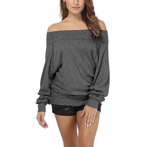 849002a609 iGENJUN Women s Dolman Sleeve Off The Shoulder Sweater Shirt Tops