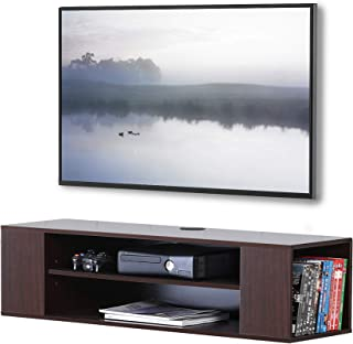 FITUEYES Floating TV Shelf Wall Mounted Wood TV Console Home Media Entertainment Shelf for Living Room DS210001WB