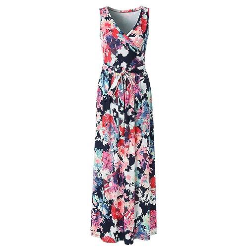 dde25b60e1 Zattcas Womens Bohemian Printed Wrap Bodice Sleeveless Crossover Maxi Dress