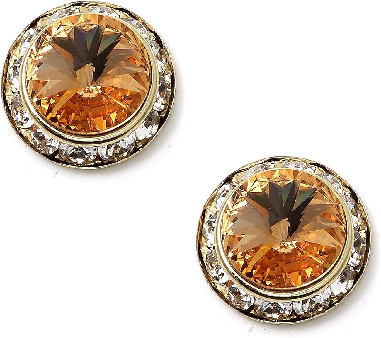 Gold Plating Element Light Colorado Topaz Rhinestone 15mm Rondelle Circle Round Shape Stud Earring