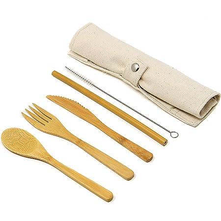 Maison & White Juego de cubiertos reutilizables de bambú | Juego de utensilios biodegradables de madera para viajes y camping | Reemplazos de plástico