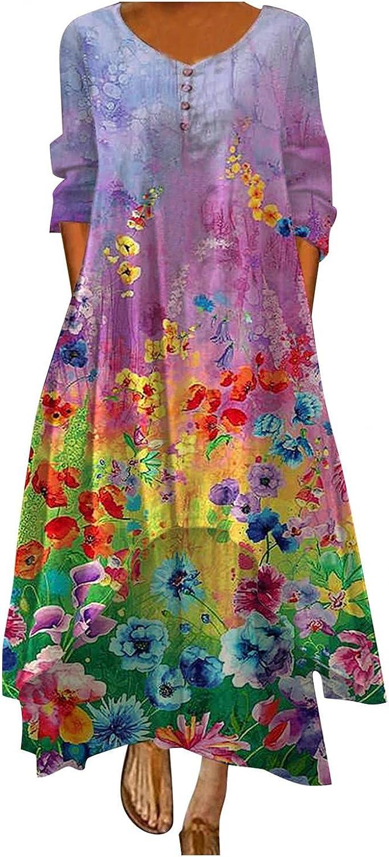 soyienma Womens Summer Dress,Womens Long Sleeve Dress Floral Loose Long Maxi Dress Bohemian Caftan Beach Dress