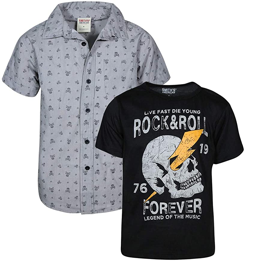 Smith's American Boys Short Sleeve Button Down Shirt and Tee 2 Piece Set