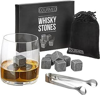 GOURMEO Whisky Steine aus natürlichen Speckstein I wiederverwendbare Eiswürfel, Whiskysteine, Whisky Stones, Kühlsteine, 9 Stück