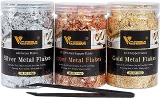 VGSEBA Gilding Gold Leaf Flakes - 10g/Jar Gold Foil Flakes, 3 Bottles Metallic Foil Flakes for Arts, Crafts, Nails(Tweezer...