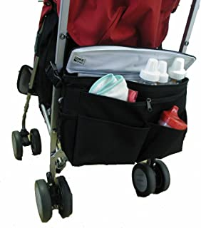J.L. Childress Cool 'N Cargo, Universal Fit Stroller Cooler and Organizer, Insulated, Easily Attach to Stroller or Detach to use as Diaper Bag, Black