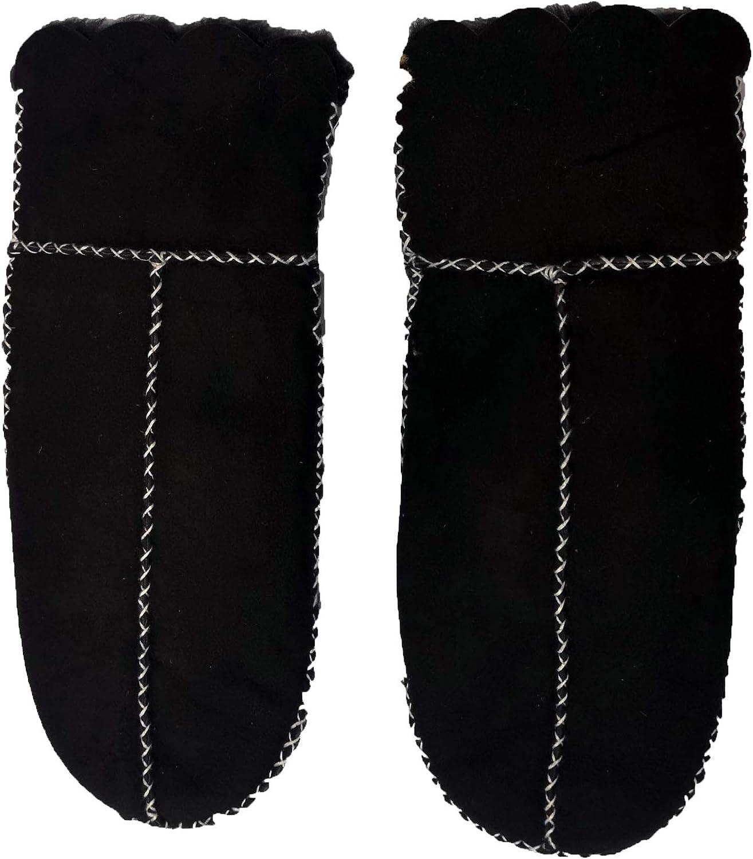 YISEVEN Women's Winter Merino Lambskin Shearling Leather Mitten Wool Lined