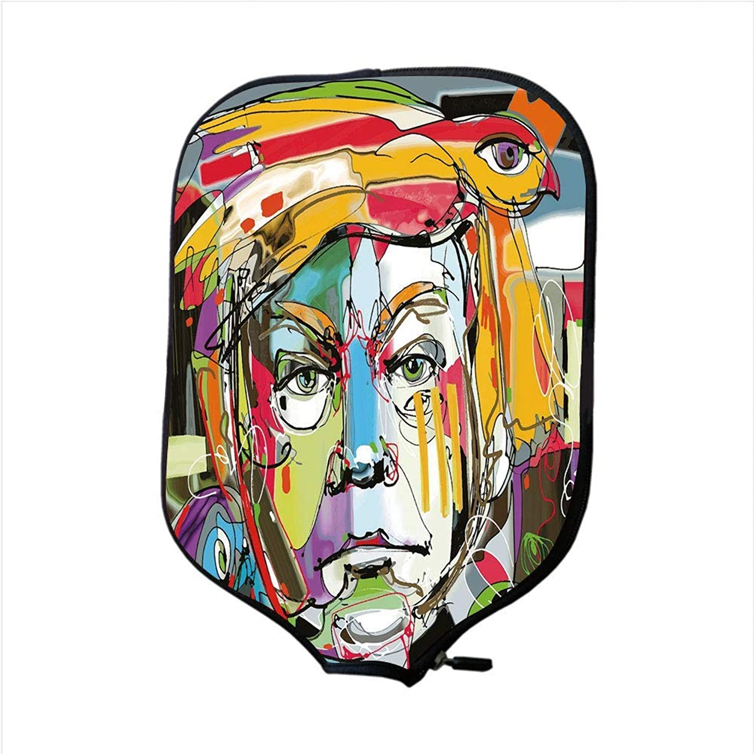 Fine Neoprene Pickleball Paddle Racket Cover Case,Quirky Decor,Abstract Contemporary Art Portrait of Man with a Bird on His Head Paint Style,Multicolor,Fit for Most Rackets