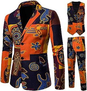 Goutique Mens 3 Piece Suit Ethnic Style Notched Lapel Floral 2 Button Slim Fit Prom Party Suit Jacket Coat & Pants&Vest