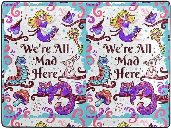 Mad Alice In Wonderland Soft Area Rugs Bedroom Carpets For Living Room Bedroom Kids Room Girls Room Nursery Home Decor Carpet 63 X 48 Inches