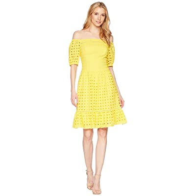 Donna Morgan Short Sleeve Off the Shoulder Eyelet Dress (Sunny Yellow) Women
