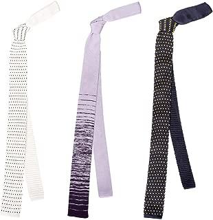 BMC Stylish 3pc Mixed Pattern Mens Fashion Knitted Neck Tie Accessory Set