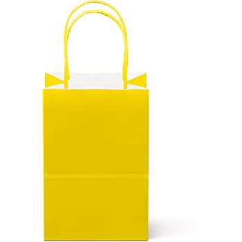"""12 Counts Food Safe Premium Paper and Ink Small 8.5"""" X 5.25"""", Vivid Colored Kraft Bag with Colored Sturdy Handle, Perfect for Goodie Favor DIY Bag, Environmentally Safe (Small, Yellow)"""