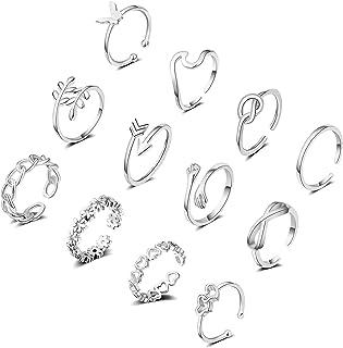 12 قطعة من حلقات مفتوحة قابلة للتعديل للنساء من توبيني مجموعة خواتم مفصل للأصابع وفراشة ومموج