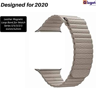 Gizget Leather Magnetic Loop Strap for iWatch Series 5/4/3/2/1 (42MM/44MM, Khaki)