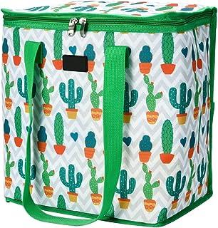 Cizen Bolsa de Almuerzo, 22L Bolsa de Almuerzo Portátil a Prueba de Fugas, Bolsas Térmicas de Picnic Almuerzo Enfriador Cierre de Cremallera (Cactus)