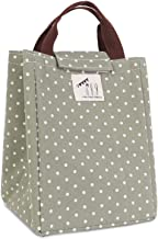 HOMESPON Reusable Lunch Bags Printed Canvas Fabric with Insulated Waterproof Aluminum Foil, Lunch Box Tote Handbag for Women, Kids, Students,Green Dots